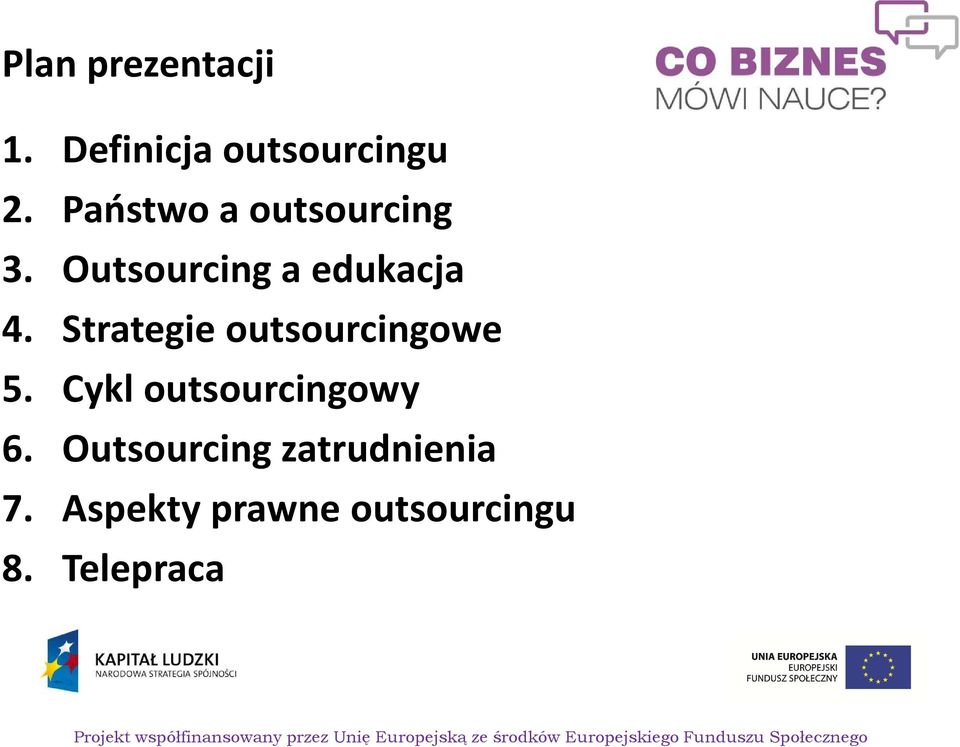 Strategie outsourcingowe 5. Cykl outsourcingowy 6.