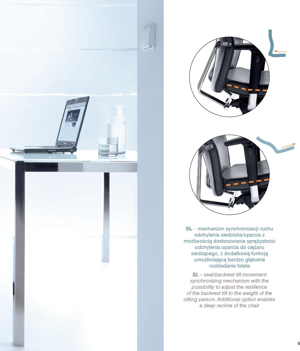 fotela SL seat/backrest tilt movement synchronizing mechanism with the possibility to adjust the