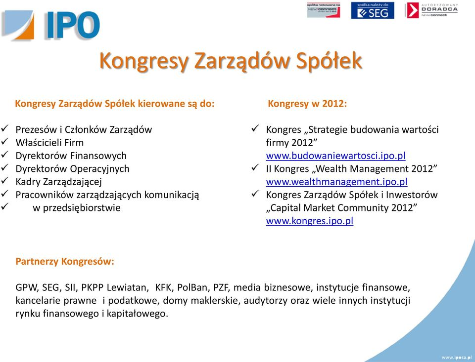 pl II Kongres Wealth Management 2012 www.wealthmanagement.ipo.