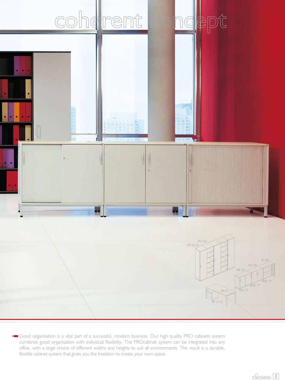 The PROcabinet system can be integrated into any office, with a large choice of different widths