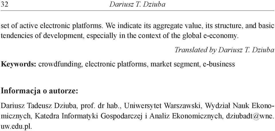 global e-economy. Translated by Dariusz T.