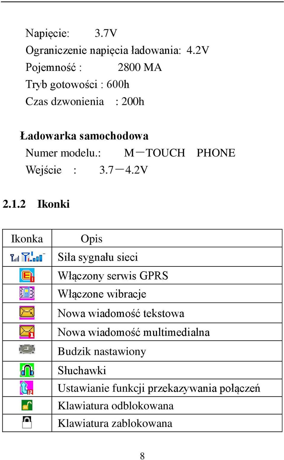 : M-TOUCH PHONE Wejście : 3.7-4.2V 2.1.