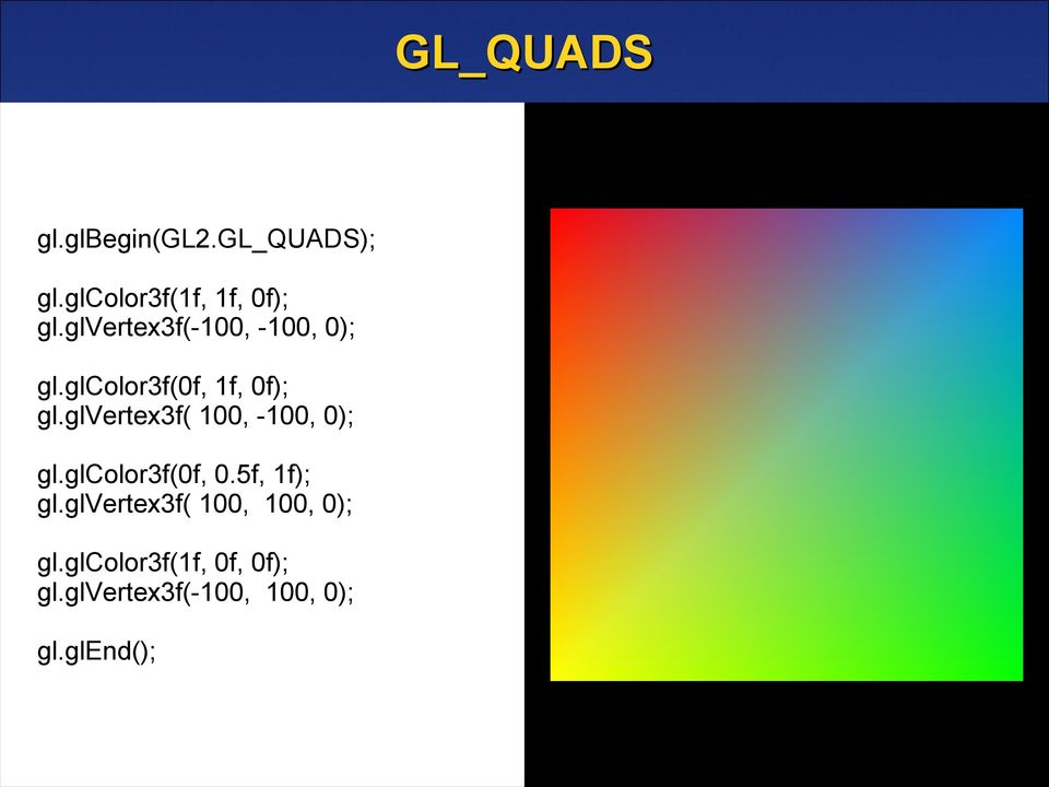 glvertex3f( 100, -100, 0); gl.glcolor3f(0f, 0.5f, 1f); gl.