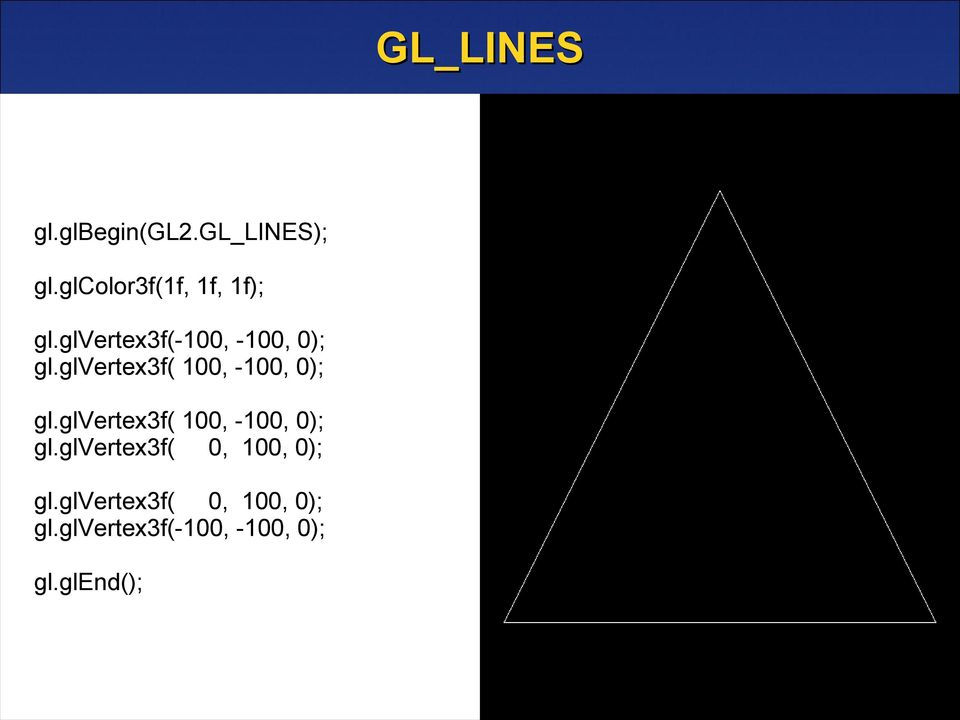 glvertex3f( 100, -100, 0); gl.glvertex3f( 100, -100, 0); gl.glvertex3f( 0, 100, 0); gl.