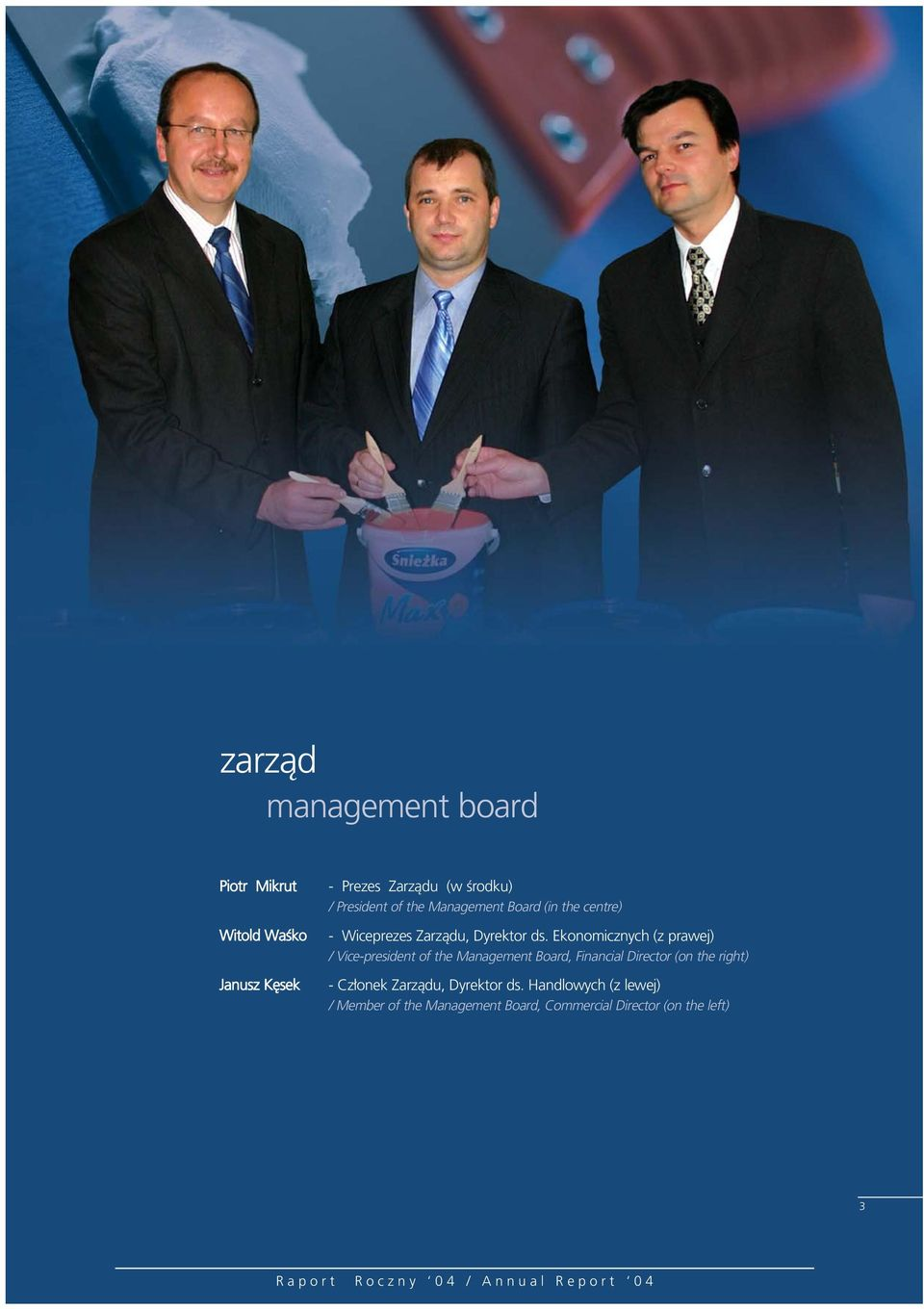 Ekonomicznych (z prawej) / Vice-president of the Management Board, Financial Director (on the right)