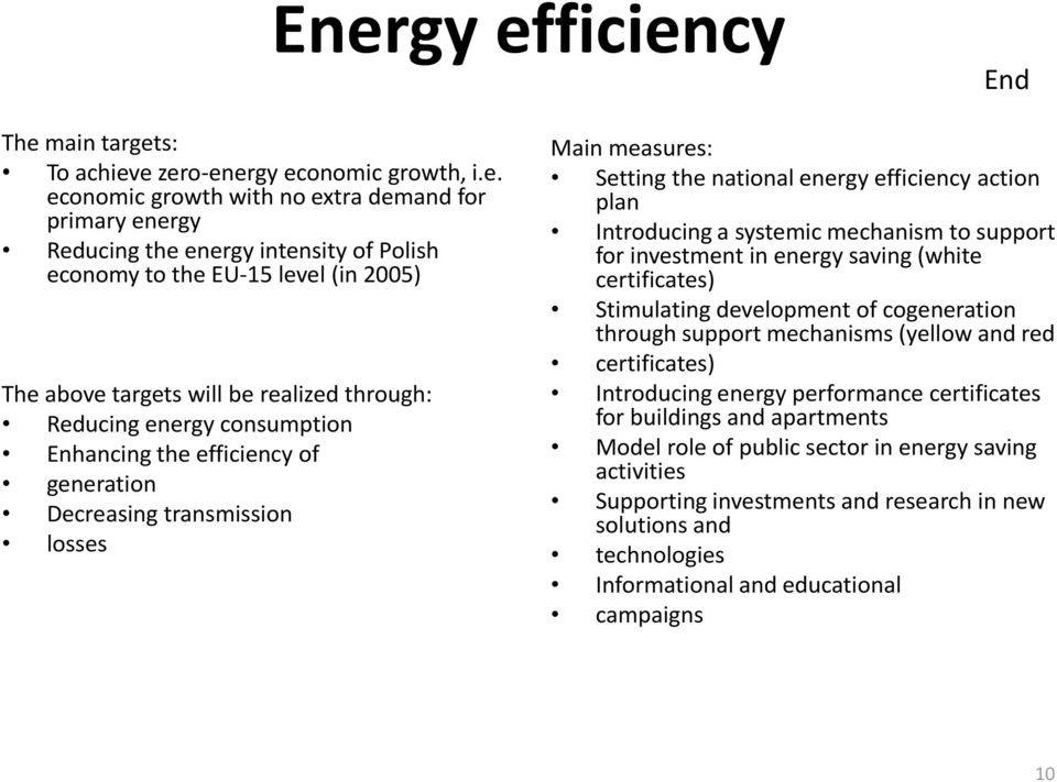 energy efficiency action plan Introducing a systemic mechanism to support for investment in energy saving (white certificates) Stimulating development of cogeneration through support mechanisms