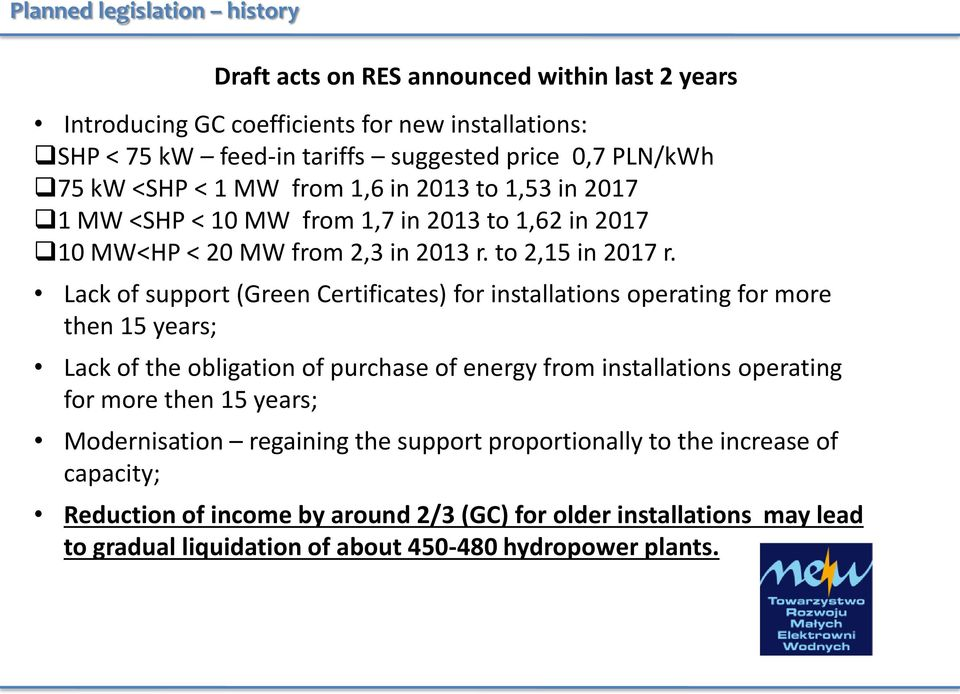 Lack of support (Green Certificates) for installations operating for more then 15 years; Lack of the obligation of purchase of energy from installations operating for more then 15