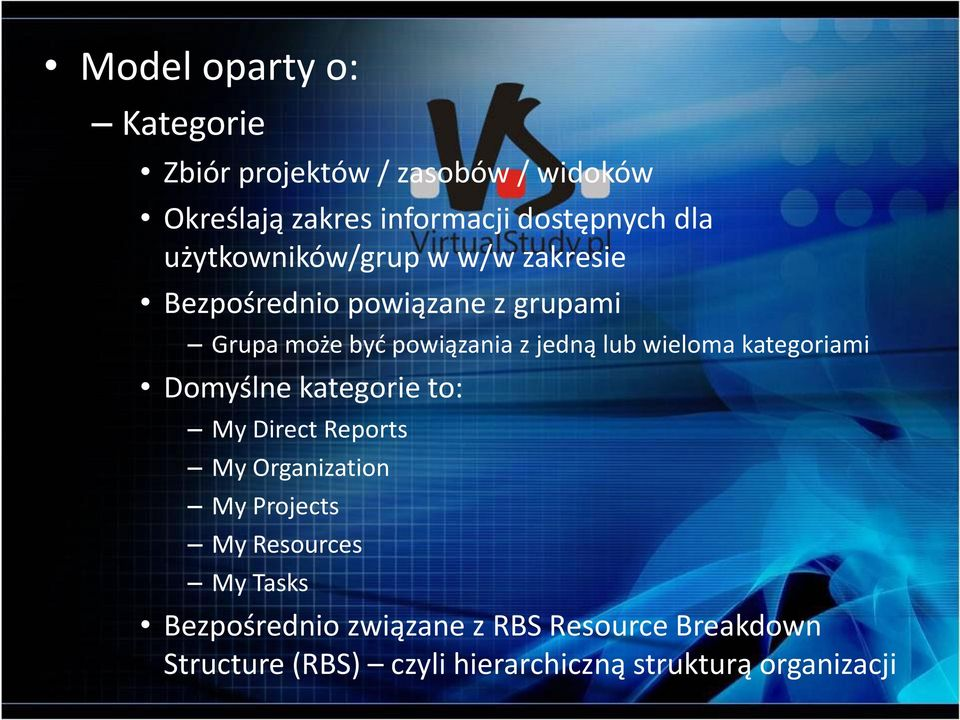 wieloma kategoriami Domyślne kategorie to: My Direct Reports My Organization My Projects My Resources My