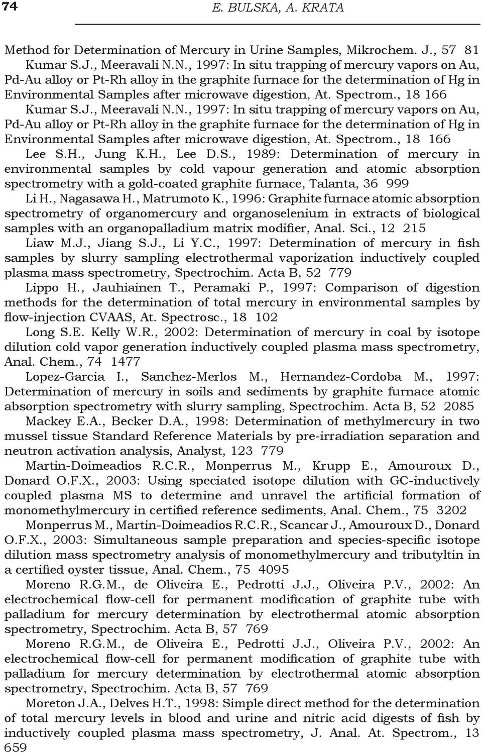 , 18 166 Kumar S.J., Meeravali N., 18 166 Lee S.H., Jung K.H., Lee D.S., 1989: Determination of mercury in environmental samples by cold vapour generation and atomic absorption spectrometry with a gold-coated graphite furnace, Talanta, 36 999 Li H.