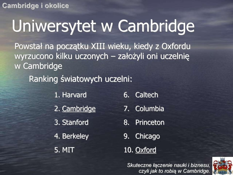 Cambridge Ranking światowych uczelni: 1. Harvard 2. Cambridge 3.