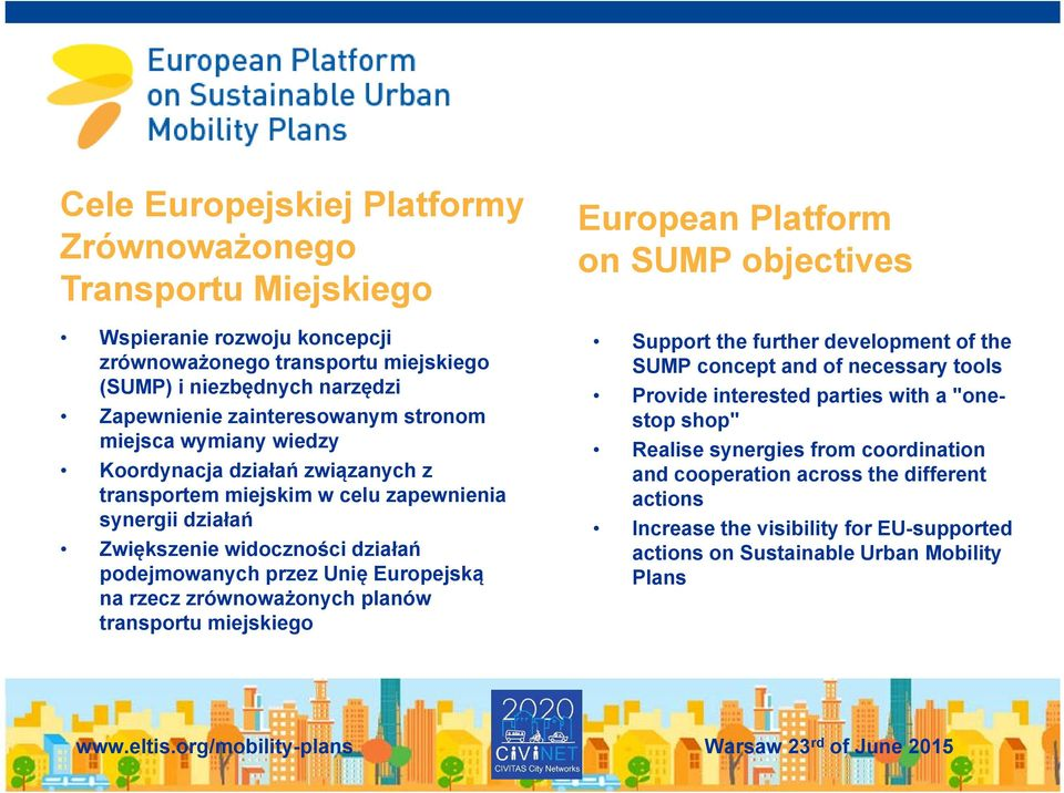 na rzecz zrównoważonych planów transportu miejskiego European Platform on SUMP objectives Support the further development of the SUMP concept and of necessary tools Provide interested