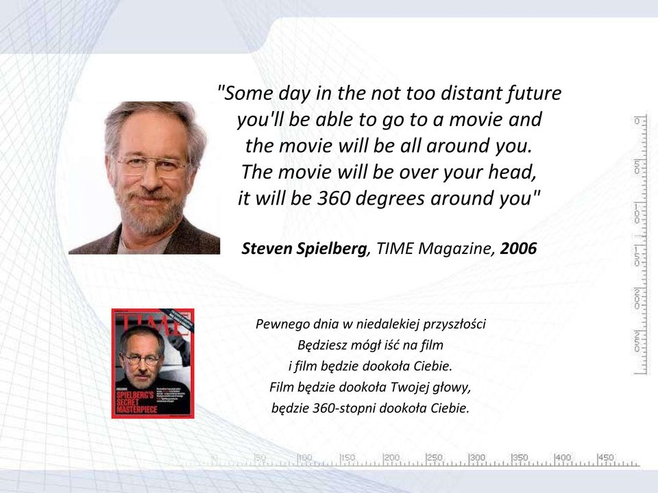 "The movie will be over your head, it will be 360 degrees around you"" Steven Spielberg, TIME"