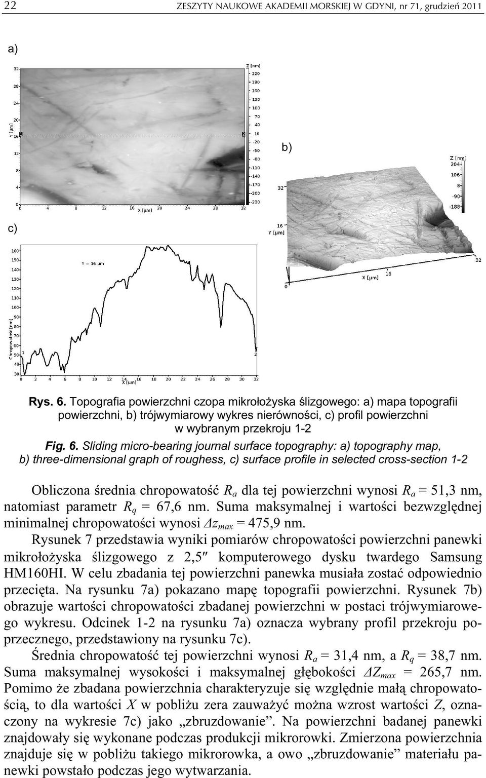Sliding micro-bearing journal surface topography: a) topography map, b) three-dimensional graph of roughess, c) surface profile in selected cross-section 1-2 Obliczona średnia chropowatość R a dla