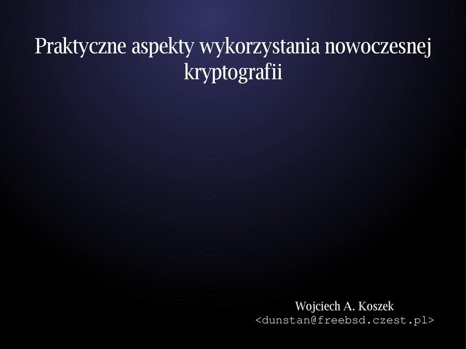 kryptografii Wojciech A.