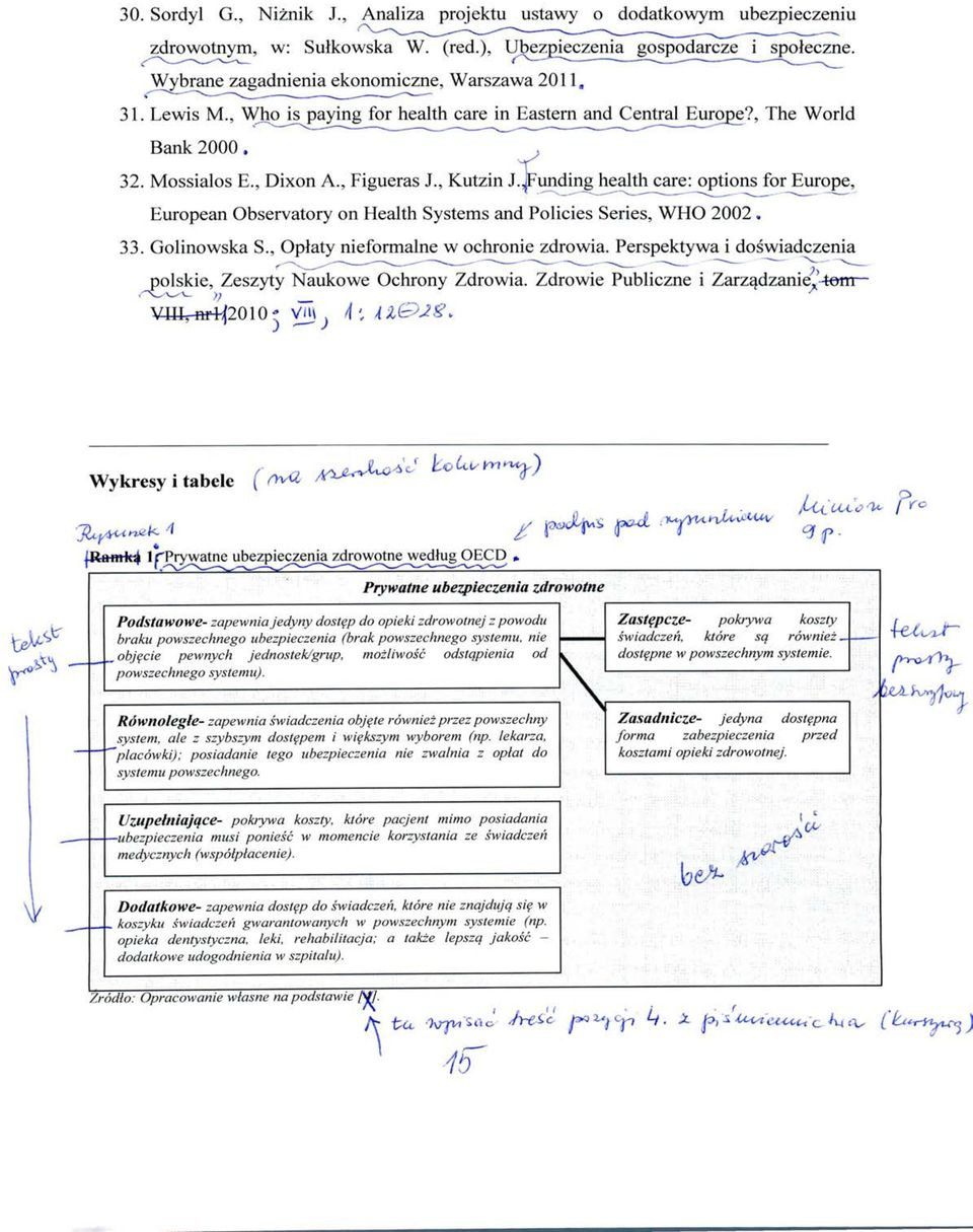.jFunding health care: options for Europe, European Observatory on Health Systems and Policies Series, WHO 2002 33. Golinowska S., Oplaty nieformalne w ochronie zdrowia.
