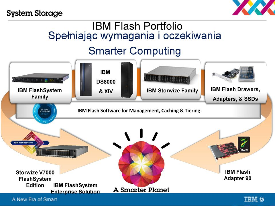 Adapters, & SSDs IBM Flash Software for Management, Caching & Tiering Storwize