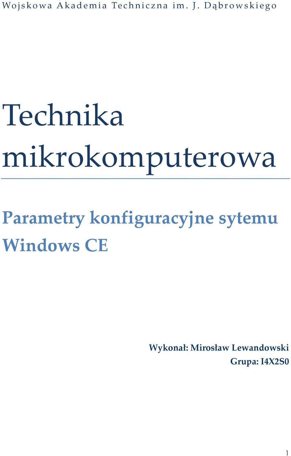 Parametry konfiguracyjne sytemu Windows
