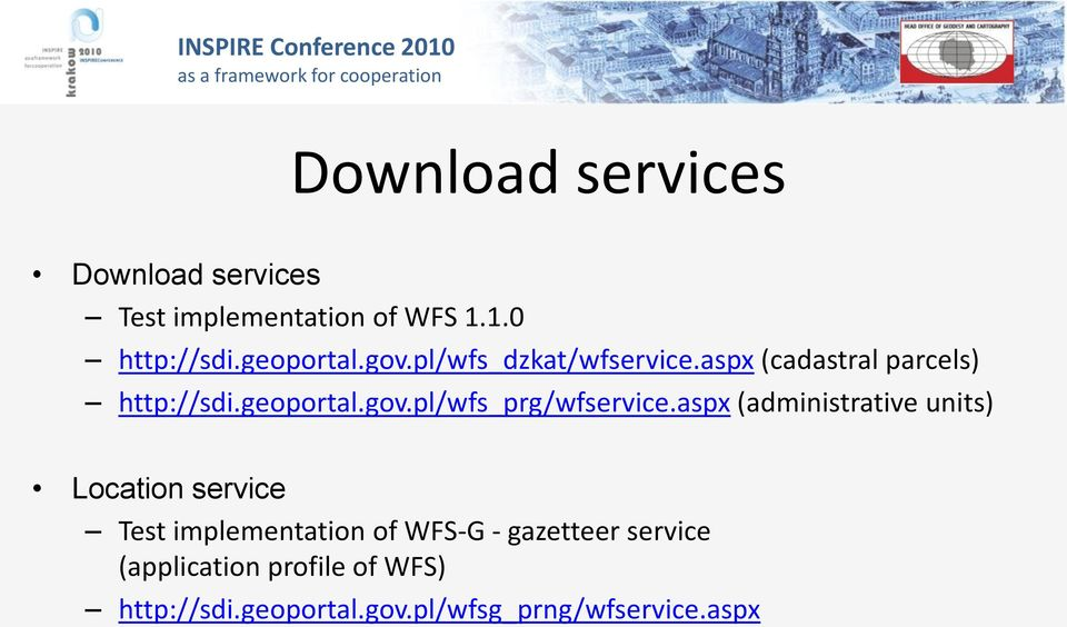 aspx (administrative units) Location service Test implementation of WFS-G - gazetteer