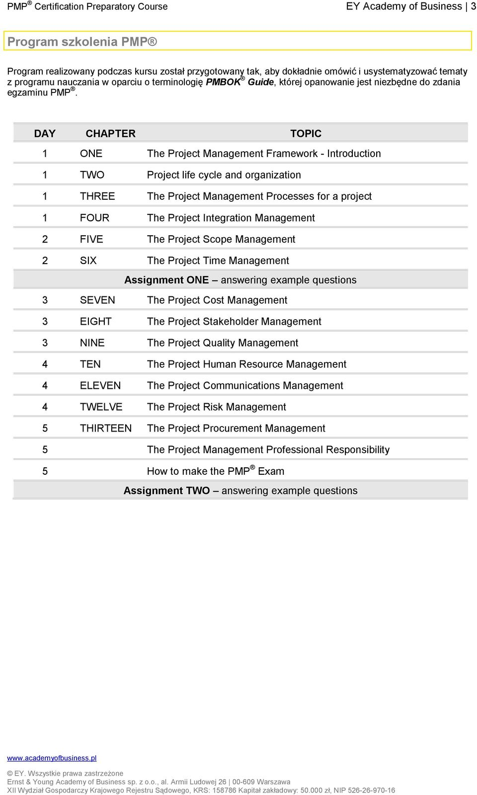 DAY CHAPTER TOPIC 1 ONE The Project Management Framework - Introduction 1 TWO Project life cycle and organization 1 THREE The Project Management Processes for a project 1 FOUR The Project Integration
