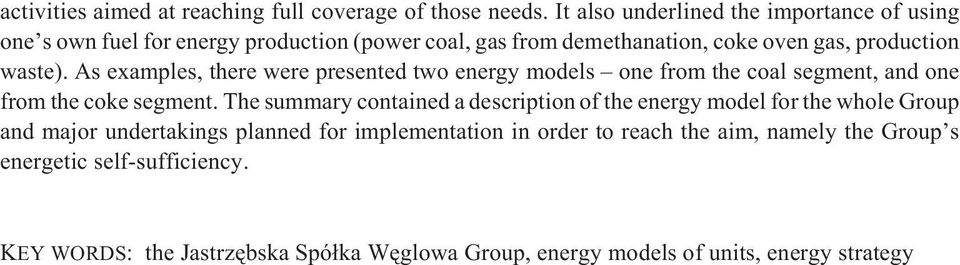 As examples, there were presented two energy models one from the coal segment, and one from the coke segment.
