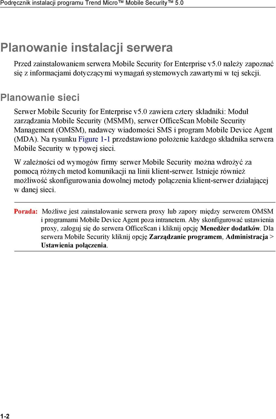 0 zawiera cztery składniki: Moduł zarządzania Mobile Security (MSMM), serwer OfficeScan Mobile Security Management (OMSM), nadawcy wiadomości SMS i program Mobile Device Agent (MDA).