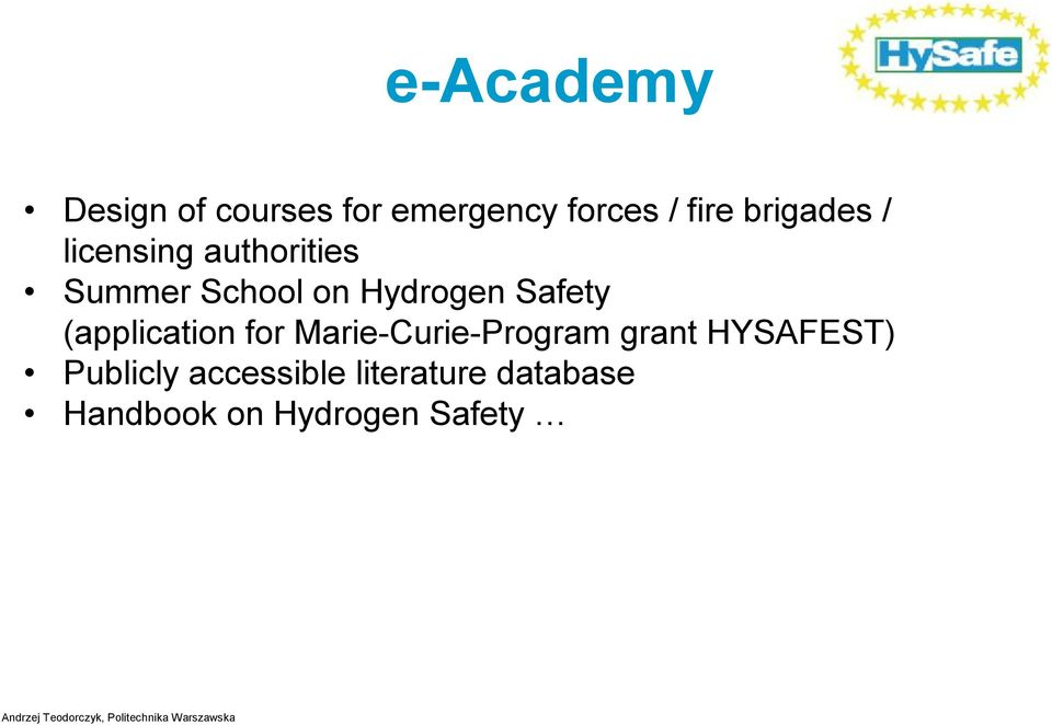 Safety (application for Marie-Curie-Program grant HYSAFEST)