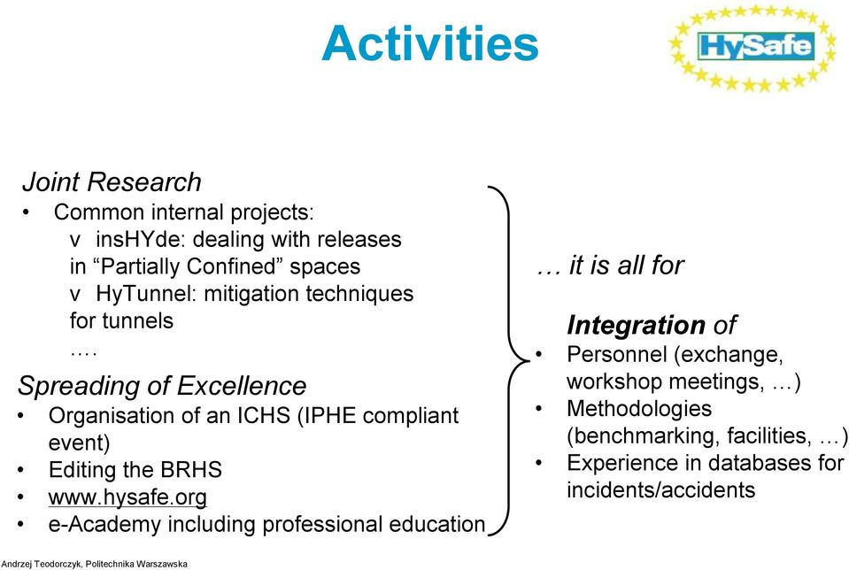 Spreading of Excellence Organisation of an ICHS (IPHE compliant event) Editing the BRHS www.hysafe.