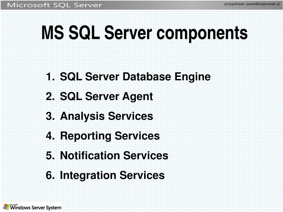 SQL Server Agent 3. Analysis Services 4.