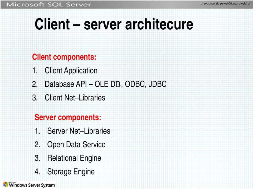 Client Net Libraries Server components: 1.