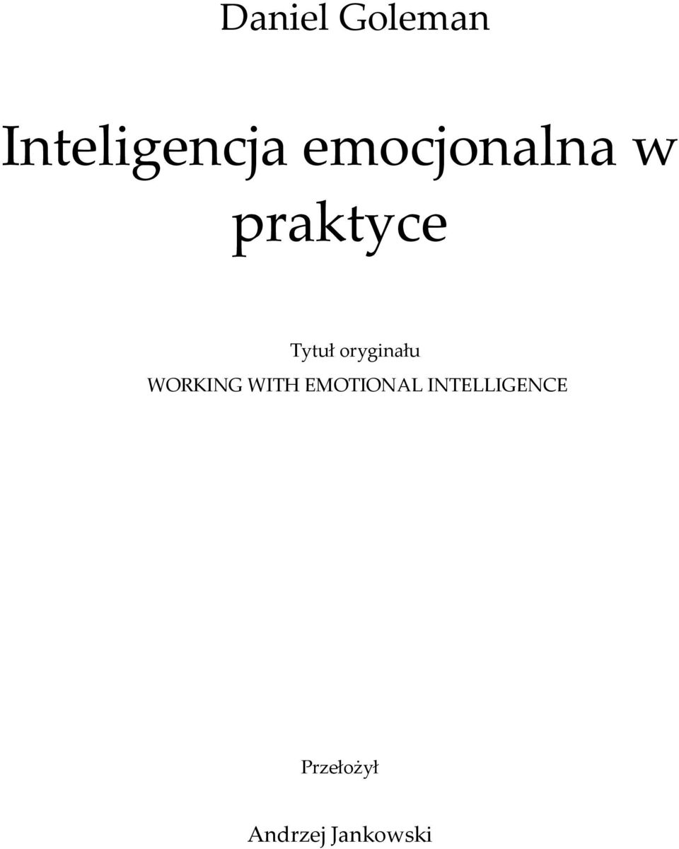 oryginału WORKING WITH EMOTIONAL