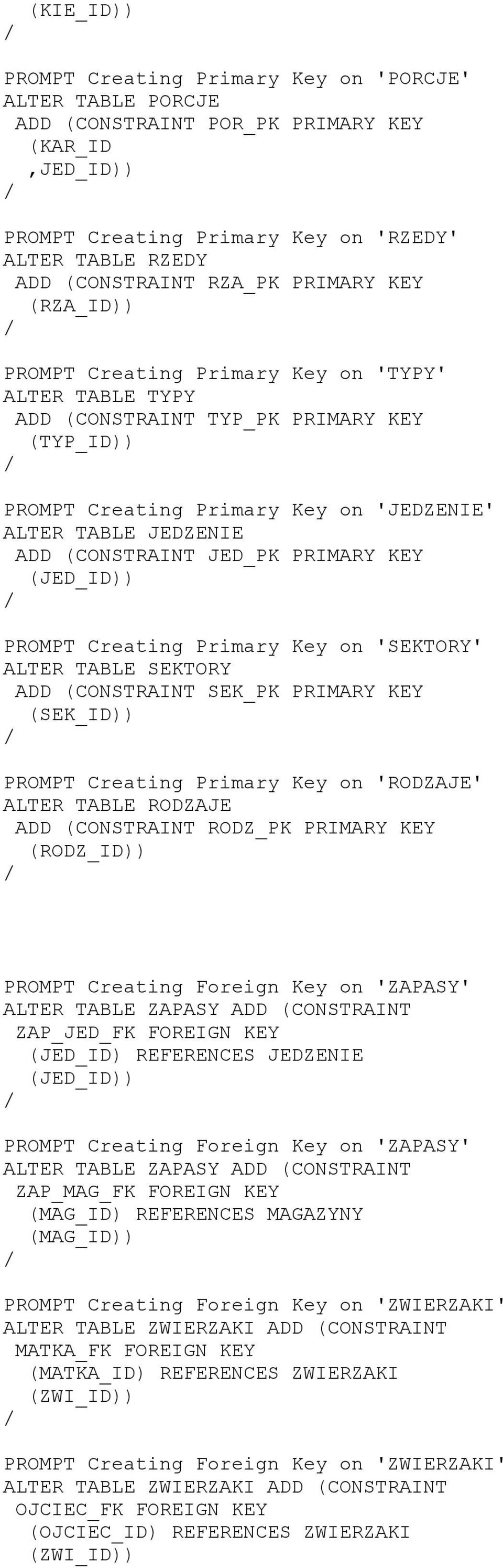 JED_PK PRIMARY KEY (JED_ID PROMPT Creating Primary Key on 'SEKTORY' ALTER TABLE SEKTORY ADD (CONSTRAINT SEK_PK PRIMARY KEY (SEK_ID PROMPT Creating Primary Key on 'RODZAJE' ALTER TABLE RODZAJE ADD