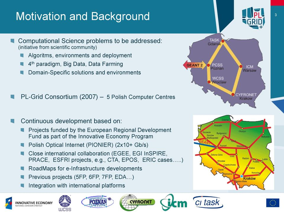 European Regional Development Fund as part of the Innovative Economy Program Polish Optical Internet (PIONIER) (2x10+ Gb/s) Close international collaboration (EGEE, EGI