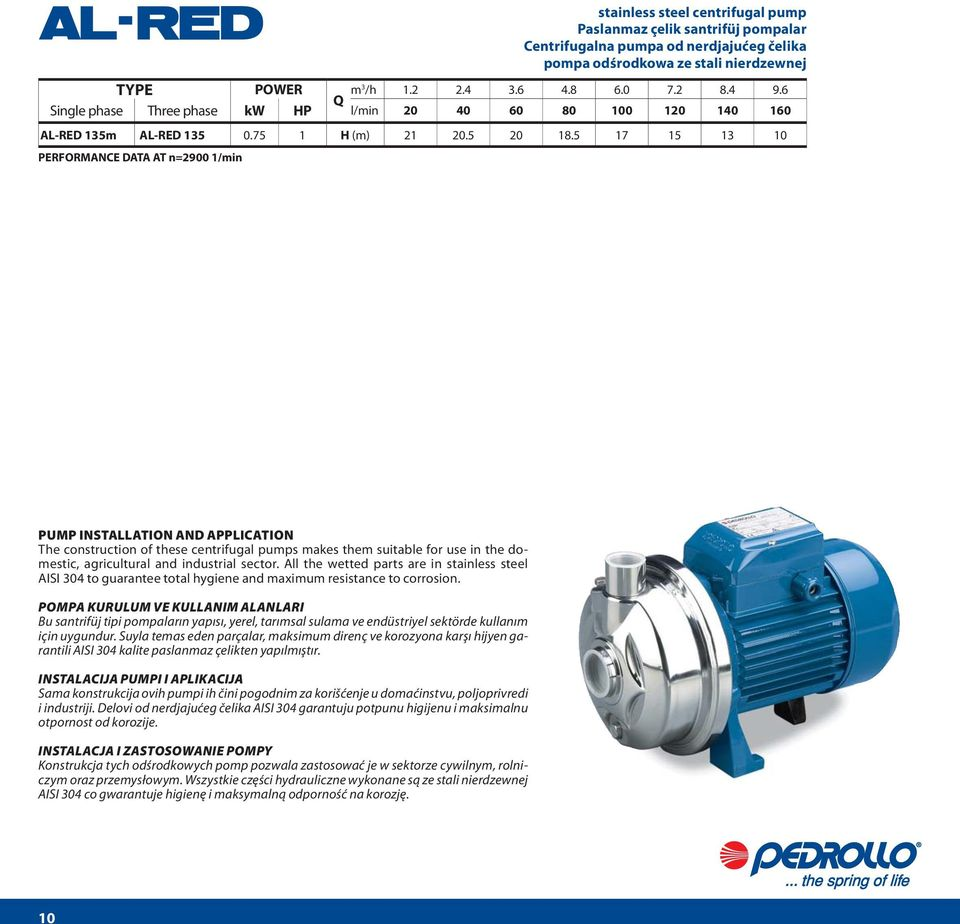 pumps makes them suitable for use in the domestic, agricultural and industrial sector.