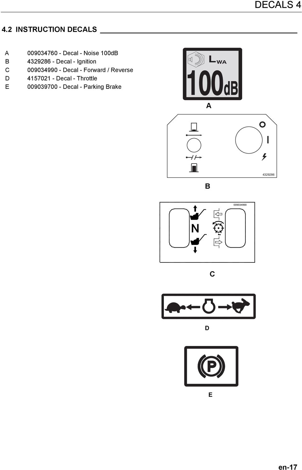 100dB 4329286 - Decal - Ignition 009034990 - Decal -