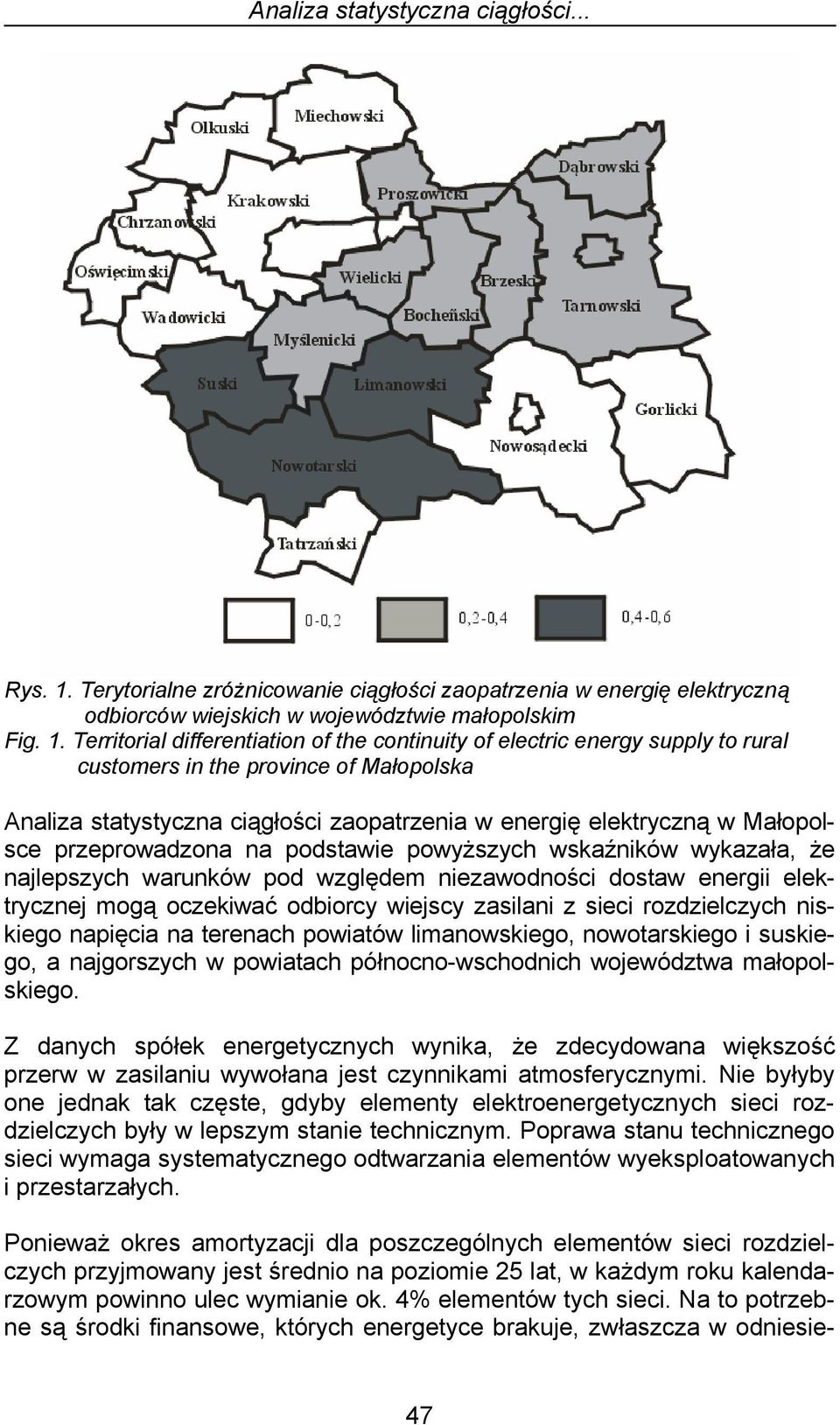Territorial differentiation of the continuity of electric energy supply to rural customers in the province of Małopolska Analiza statystyczna ciągłości zaopatrzenia w energię elektryczną w Małopolsce