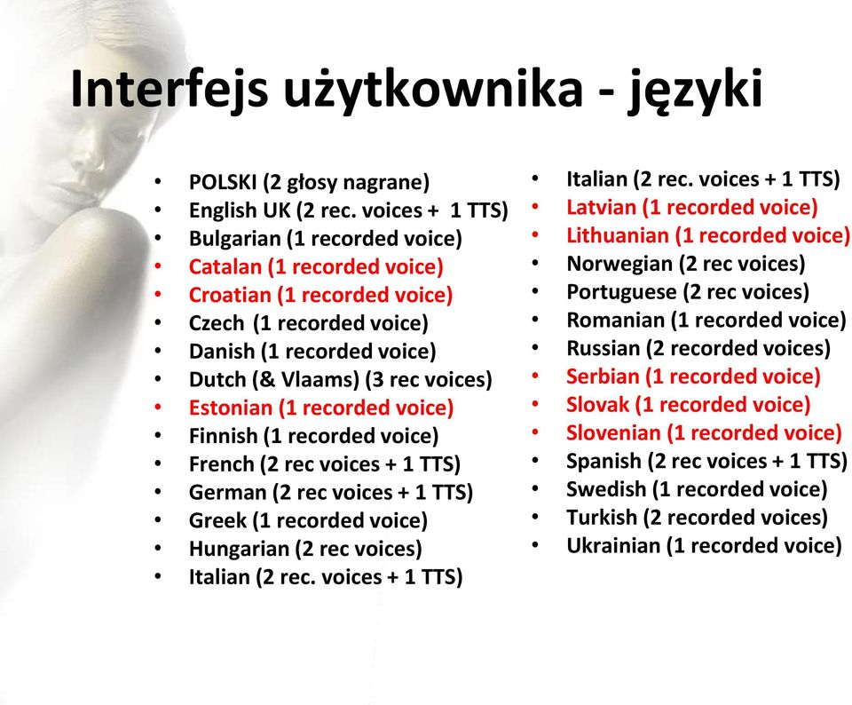 recorded voice) Finnish (1 recorded voice) French (2 rec voices + 1 TTS) German (2 rec voices + 1 TTS) Greek (1 recorded voice) Hungarian (2 rec voices) Italian (2 rec. voices + 1 TTS) Italian (2 rec.