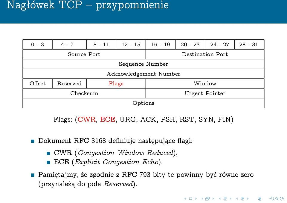 ACK, PSH, RST, SYN, FIN) Dokument RFC 3168 definiuje następujące flagi: CWR (Congestion Window Reduced), ECE