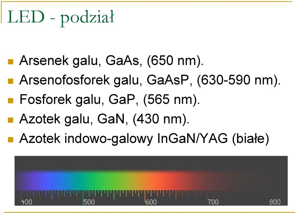Fosforek galu, GaP, (565 nm).