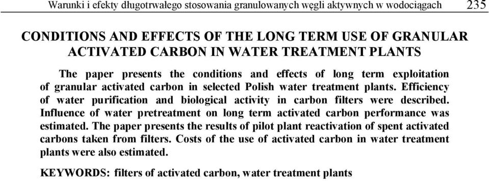 activated carbon and deactivated for water treatment pdf