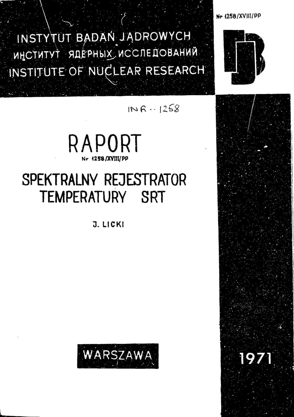 LEAR RESEARCH; RAPORT Nr <258/ХШ/РР SPEKTRALNY