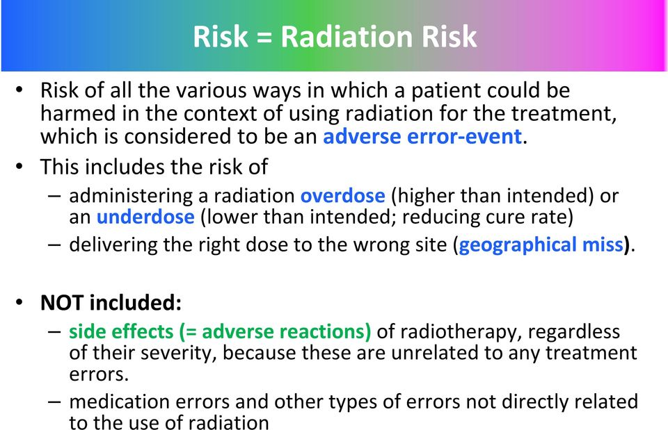 This includes the risk of administering a radiation overdose(higher than intended) or an underdose(lower than intended; reducing cure rate) delivering the