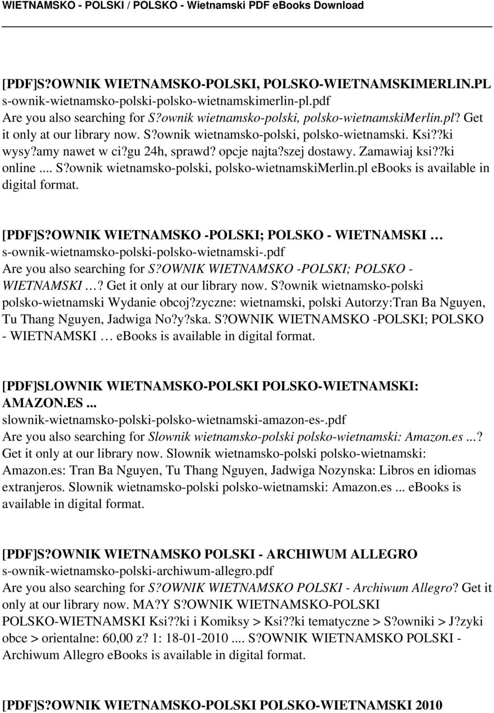 pl ebooks is available in digital format. [PDF]S?OWNIK WIETNAMSKO -POLSKI; POLSKO - WIETNAMSKI s-ownik-wietnamsko-polski-polsko-wietnamski-.pdf Are you also searching for S?