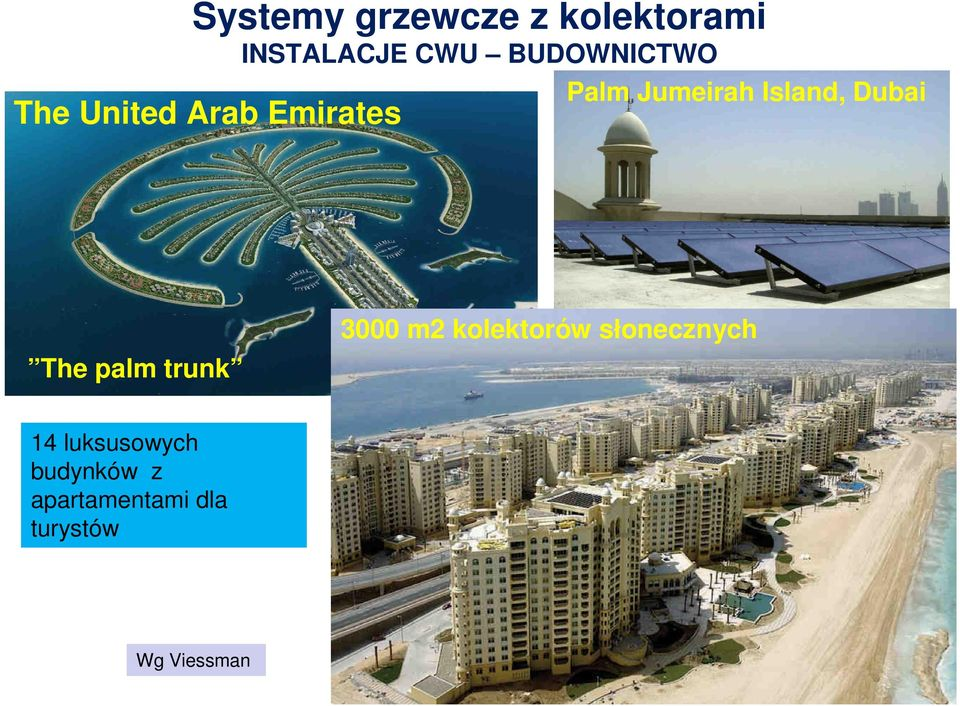 Island, Dubai The palm trunk 000 m2 kolektorów
