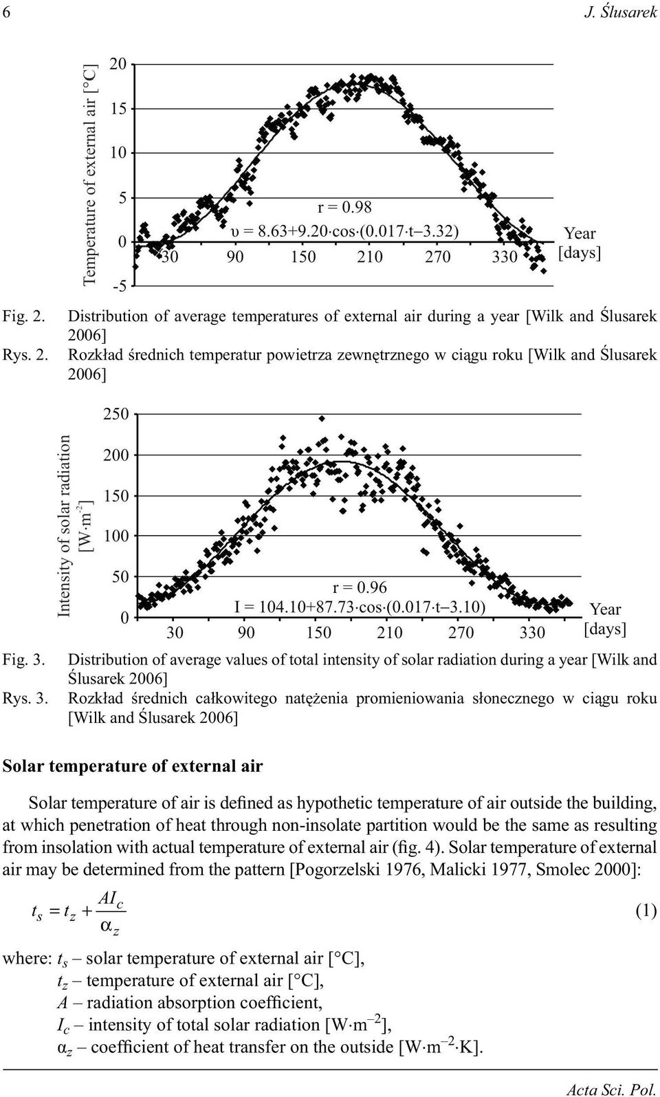 3. Distribution of average values of total intensity of solar radiation during a year [Wilk and lusarek 2006] Rozk ad rednich ca kowitego nat enia promieniowania s onecznego w ci gu roku [Wilk and