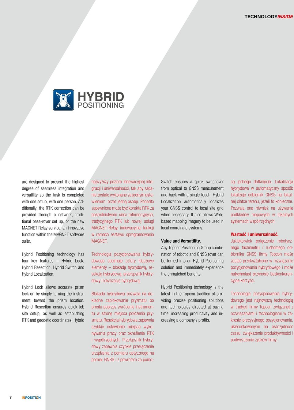 Hybrid Positioning technology has four key features Hybrid Lock, Hybrid Resection, Hybrid Switch and Hybrid Localization.