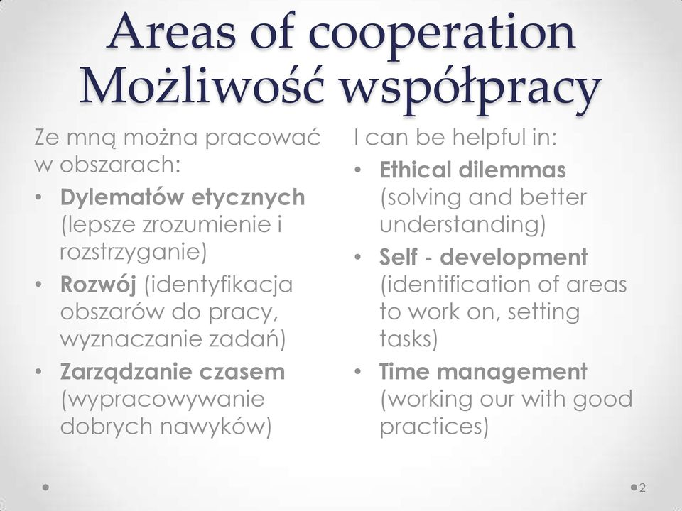 (wypracowywanie dobrych nawyków) I can be helpful in: Ethical dilemmas (solving and better understanding) Self