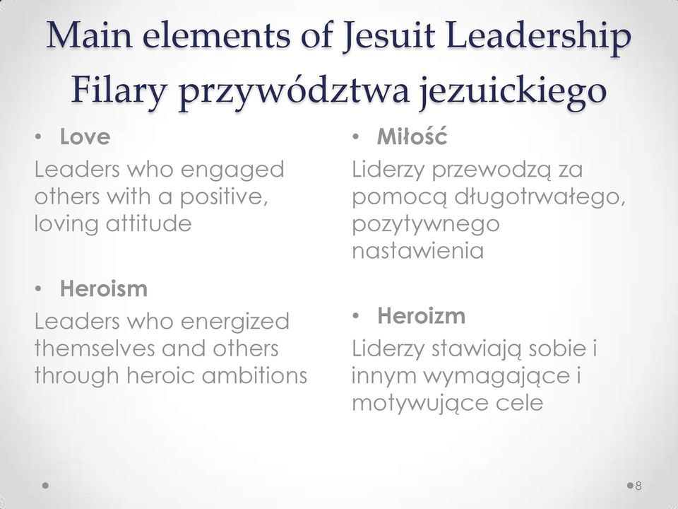themselves and others through heroic ambitions Miłość Liderzy przewodzą za pomocą