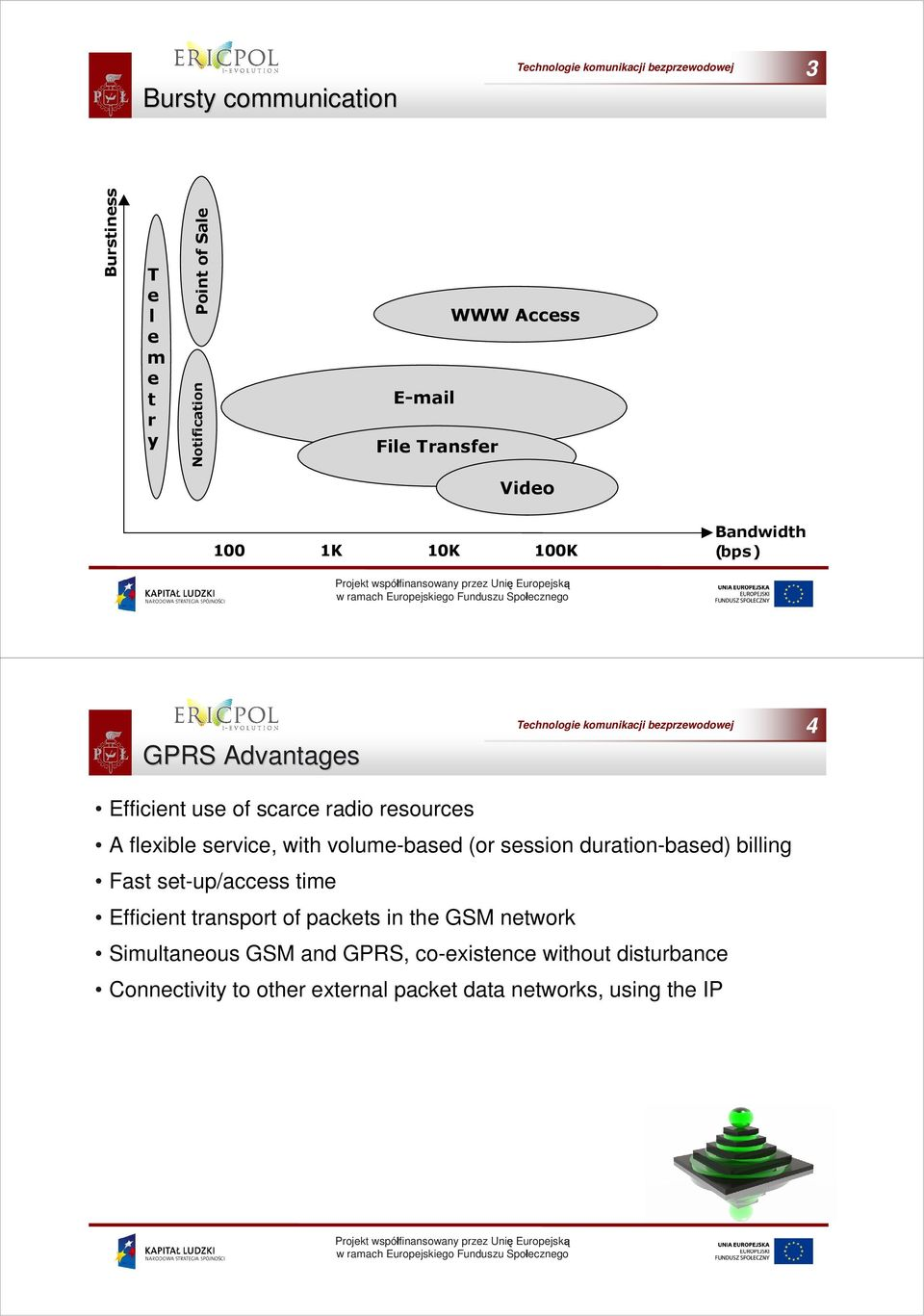 volume-based (or session duration-based) billing Fast set-up/access time Efficient transport of packets in the GSM