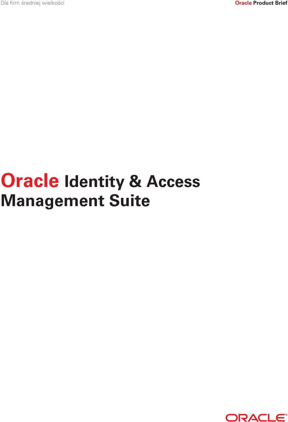Product Brief Oracle
