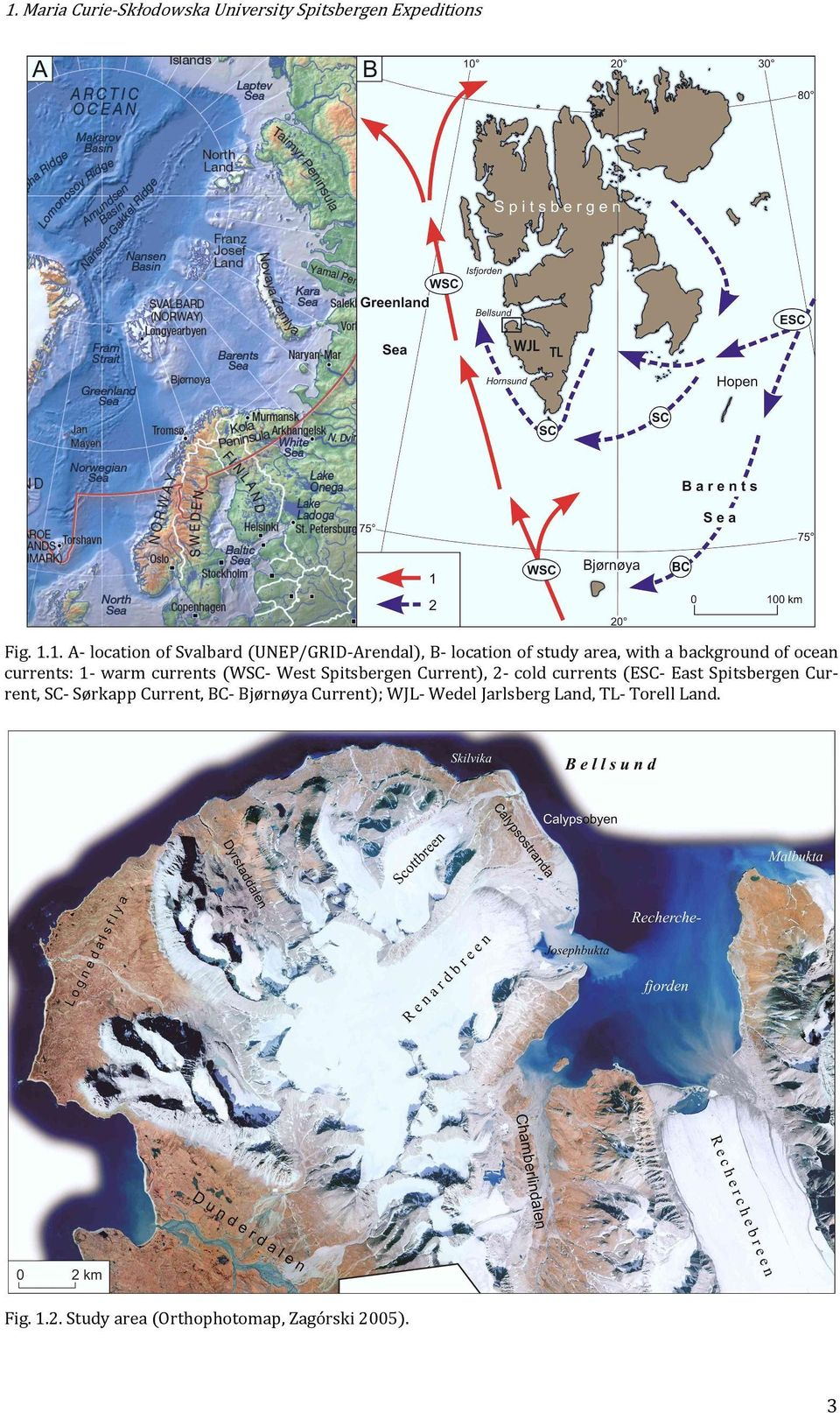 (WSC- West Spitsbergen Current), 2- cold currents (ESC- East Spitsbergen Current, SC- Sørkapp Current,